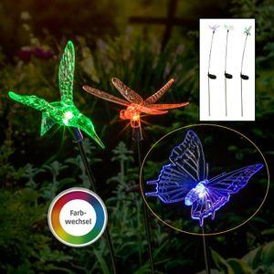 Solarleuchte LED bunt farbwechsel Solar Balkon Garten Gartenleuchte SWING 100 cm Schmetterling