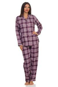 Damen Flanell Pyjama Schlafanzug langarm mit Knopfleiste und Reverskragen - 291 201 15 557, Farbe:beere, Größe:40/42
