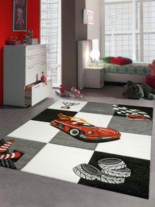 Kinderteppich Spielteppich Jungen Kinderzimmerteppich Auto Rennwagen rot schwarz Größe - 120x170 cm