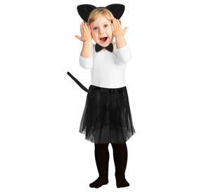 Kostüm Katze Mädchen Rock Schwanz Haarreif Fliege Komplett Set Fasching 8225