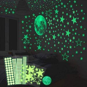 Wandtattoo Leuchtsticker Selbstklebend 435/Leuchtpunkte und 30cm Mond Wandsticker für kinderzimmer Sternenhimmel-leuchtsterne und Fluoreszierend Leuchtaufkleber mit starker Leuchtkraft