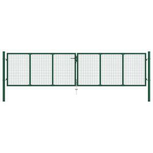 vidaXL Mesh-Gartentor Stahl 400 x 100 cm Grün