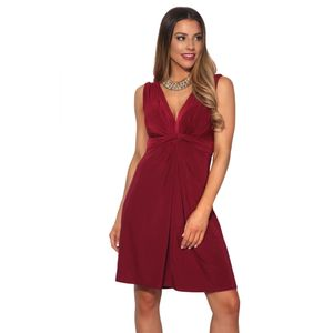 Krisp Damen Kleid mit Knoten-Design vorne, V-Ausschnitt, kurz, ärmellos KP117 (38 DE) (Beere)