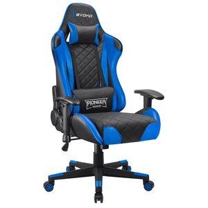Homall Gaming Stuhl Bürostuhl Gamer Schreibtischstuhl Ergonomischer Chefsessel Höhenverstellbarer Racing Drehstuhl Sessel aus Kunstleder Computerstuhl mit Einstellbare Armlehne, Blau