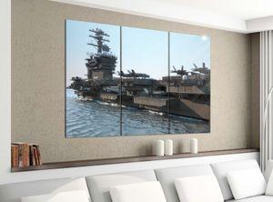 Leinwandbild 3tlg 120cmx100cm Flugzeug Flugzeugträger Krieg Schiff Bilder Druck auf Leinwand Bild Kunstdruck mehrteilig Holz 9YA2808, 3 Tlg 120x100cm:3 Tlg 120x100cm