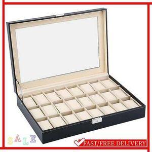 24 Gitter Aufbewahrungskoffer Uhrenbox Uhrenkoffer Schatulle Aufbewahrung Kasten