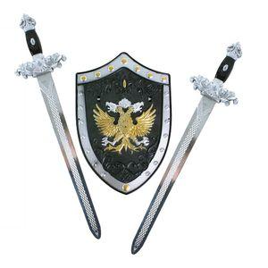 Verkleidung Zubehör Schild und Zwei Schwerter für tapfere Ritter - Ritterschwert Länge 49 cm