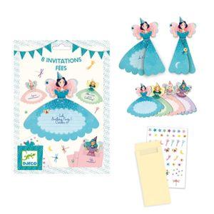 DJECO 8 Einladungskarten Feen mit Stickern und 8 Umschlägen je Farbe 2 Stück