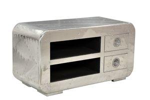 SIT Möbel Lowboard | 2 Schubladen, 2 offene Fächer | Mangoholz + MDF mit Alu beschlagen | B 100 x T 45 x H 50 cm | 01715-21 | Serie AIRMAN