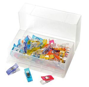 "50 Clover Stoffklammern ""Wonder Clips"", farbig, in Kunststoffbox, Großhandelspackung"