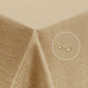 Tischdecke 135x200 cm natur beige eckig beschichtet Leinenoptik wasserabweisend Lotuseffekt