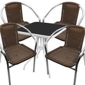 Bistro Sitzgarnitur Bistrogarnitur 5-teilig Tisch Weiß-Schwarz / Stuhl Mokka