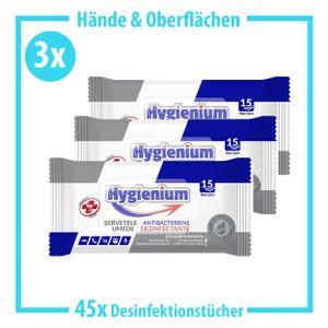 3 Stück - 15x Hygienium Desinfektionstücher Tücher to go für Hände und Flächen - Desinfektionsmittel