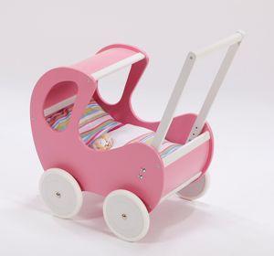 Hochwertiger Holz Puppenwagen / Lauflernwagen mit Dach inkl. Bettset, Farbe:Dornröschen Rosa