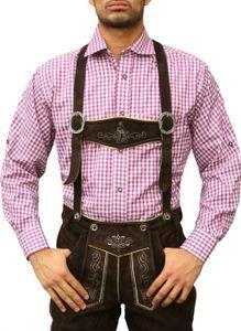 Karo Bayerisches Trachtenhemd hemd für lederhosen Trachtenmode Lila /kariert, Größe:L
