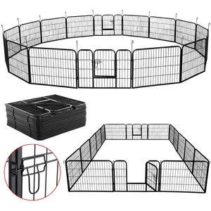 Yaheetech 32 eckig Welpenlaufstall Tierlaufstall Welpenauslauf Freigehege mit 4 Türen