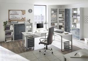 Arbeitszimmer OFFICE LUX 9-tlg. in lichtgrau / Glas graphit (Set 1)