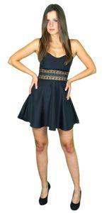 Sexy Sommerkleid kurz Strandkleid Partykleid Cocktailkleid schwarz, Größe:L