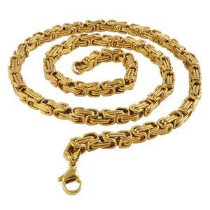 5 mm Königskette Armband Herrenkette Männer Kette Halskette, 55 cm Gold Edelstahl Ketten