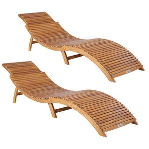 Casaria 2x Sonnenliege Akazienholz Faltbar Kofferfunktion Ergonomisch Gartenliege Liegestuhl Holziege Liege