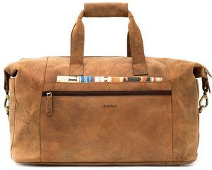 LEABAGS Dubai Reisetasche Handgepäcktasche Sporttasche aus echtem Leder im Vintage Look , Farbe:Braun