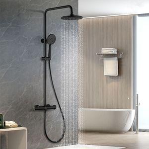 Dusche Schwarz Duschsystem Thermostat Duscharmatur Duschset Regendusche Set Schwarz inkl. verstellbar Duschstange und Handbrause