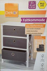 Faltkommode aus Kiefernholz, mit 3 Schubladen, Nachbildung