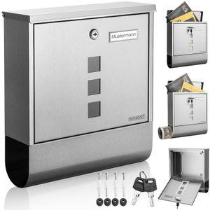 Design Briefkasten Edelstahl silber mit Zeitungsfach Sichtfenster 2 Schlüssel Namensschild Wandbriefkasten