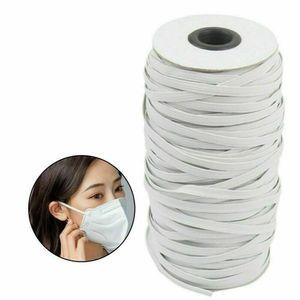 180M/195Yards Gummibänder Gummilitze Elastische Stretch-Kordel für Kleidungsstücke Sport Pant Sewing Trim Raw Weiß 5mm Gummiband nähenRohes Weiß