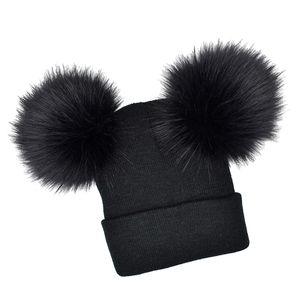 Baby Beanie Mütze Mütze Winter warm Doppel Pom Bommel Knick Ski schwarz für Baby Farbe Schwarz für Baby