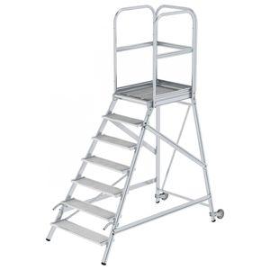 Günzburger Steigtechnik Podesttreppe eins. begehbar mit Rollen und Griffen Stahl-Gitterrost 7 Stufen