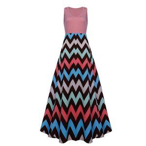 Damen Plus Size Sommerkleid ?rmelloses Maxikleid L?ssiges langes Maxikleid, Pink,5XL