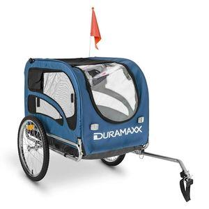 DURAMAXX - King Rex , Fahrradanhänger , Hundeanhänger , Lastenanhänger , kleine bis mittelgroße Hunde , Laderaum: 250L Volumen , Belastung:max.40kg , Kugel-Kupplung für Fahrräder mit 26' -28'' , blau