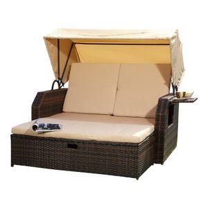 Rattan Strandkorb Sonnenbett Dach Rattan Braun Sonnenliege Liegebett Relaxliege Gartenliege Bett Sonnendach Polyrattan Sofa Gartenmöbel