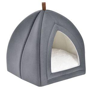 Juskys Katzenhöhle Gismo 36x36x38 cm mit herausnehmbarem Kissen & rutschfestem Boden – Schlafplatz für Katzen – hellgrau – Katzenhaus Kuschelhöhle