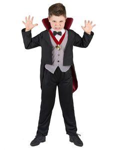 Vampir Blutsauger Halloween Kinderkostüm schwarz-grau-rot