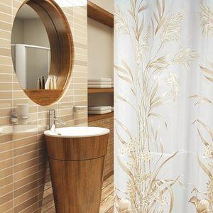 Textil Duschvorhang gold hellbraun weiss 120 x 200 cm inkl. Duschvorhangringe