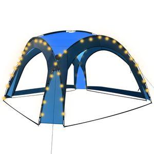 vidaXL Partyzelt mit LED und 4 Seitenwänden 3,6 x 3,6 x 2,3 m Blau