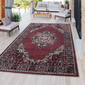 Moderner Outdoor Teppich Wetterfest für Innen & Außenbereich Perser Design In Rot, Größe:80x150 cm
