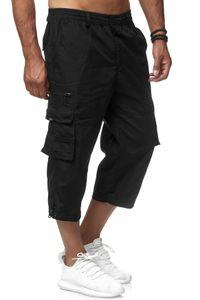 Herren Cargo Shorts Freizeit Hose 3/4 Schlupfhose Trekking Pants, Farben:Schwarz, Größe Shorts:M