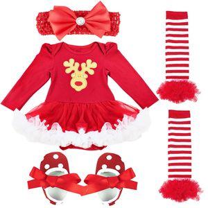 IEFIEL Baby Mädchen Kleidung Set Weihnachtsoutfits Kleid mit Beinwärmer Schuhe und Stirnband,Rot,Gr.68-74