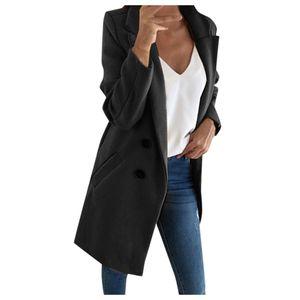 Frau langer Wollmantel Elegante Mischmäntel Schlanke weibliche lange Mantel Oberbekleidung Jacke Größe:S,Farbe:Schwarz