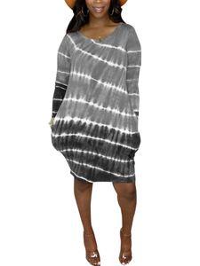 Langärmliges, gestreiftes Hemdkleid mit Farbverlauf und Farbverlauf für Damen Hosenträgerrock,Farbe: Grau,Größe:4XL