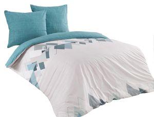Bettwäsche 200x200 + 2x 80x80 cm Baumwolle Renforce Geometrische Muster türkis weiß, 3-teilig