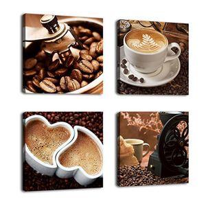 4 Paneele ungerahmt Leinwanddruck Malerei Wand Kunst Poster Kaffee Farbe Kaffee