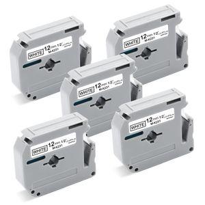 5x UniPlus Kompatibel Schriftband Ersatz für Brother M-K231 12mm für Brother PT-65 PT-80 PT-55 PT-85 PT-90 PT-M95 PT-60 PT-100 PT-110 PT-BB4, 12mm x 8m, Schwarz auf Weiß