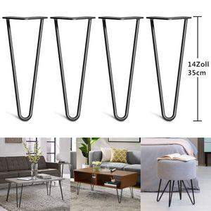 YOLEO 4x Hairpin Legs Tischbeine Möbelfüße Schreibtisch  &Esstischbeine für Couchtisch und Nachttisch - Schwarz Durchmesser 10 mm(35cm-2 Stange)