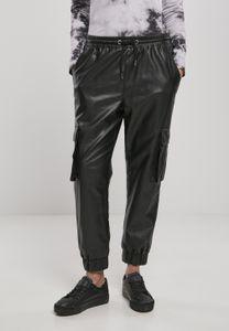 Urban Classics Damen Hose Ladies Faux Leather Cargo Pants Black-5XL