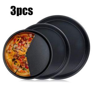 3 Pizzapfannen, schwarze Pfanne, für den Ofen geeignet, Antihaft-Runde Pizzapfanne,