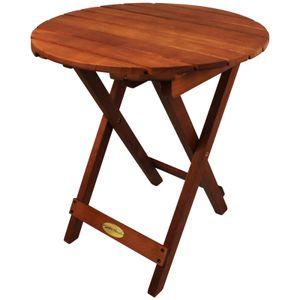 Klapptisch Hanford Eukalyptus rund Beistelltisch Holz klappbar Balkontisch klein Gartentisch Holztisch Terrassentisch